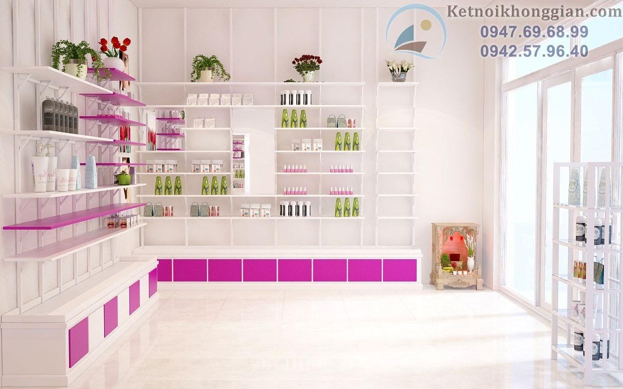 thiết kế nội thất cửa hàng mỹ phẩm đẹp