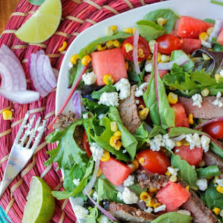 Watermelon and Lime-Steak Salad with Roasted Corn Vinaigrette