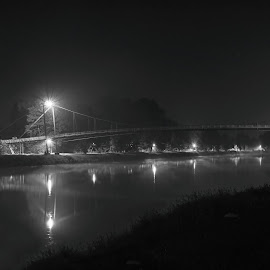 by Michal Fokt - Black & White Buildings & Architecture ( night, bridge, black and white )