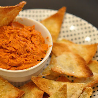 Roasted Bell Pepper Walnut Dip With Homemade Pita Chips