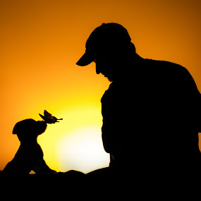 Summertime by Derek Kind - Abstract Fire & Fireworks ( child, butterfly, person, silhouette, puppy, dog, boy, nose, sun, man )