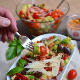 Roasted Red Pepper and Cucumber Salad