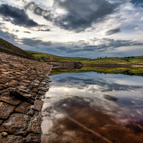 Reservoir in the Pennines by Adrian Wilson - Landscapes Waterscapes ( water, reservoir, wall )
