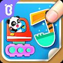 Baby Panda's creative collage design icon