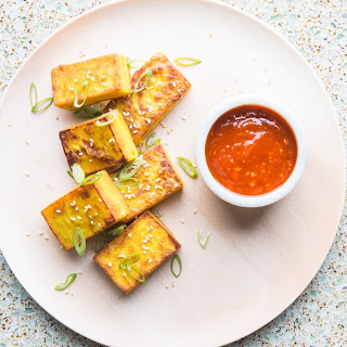 Burmese Chickpea Tofu with Spicy Dipping Sauce.