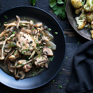 Braised Chicken And Mushrooms With Roasted Lemon And Cauliflower