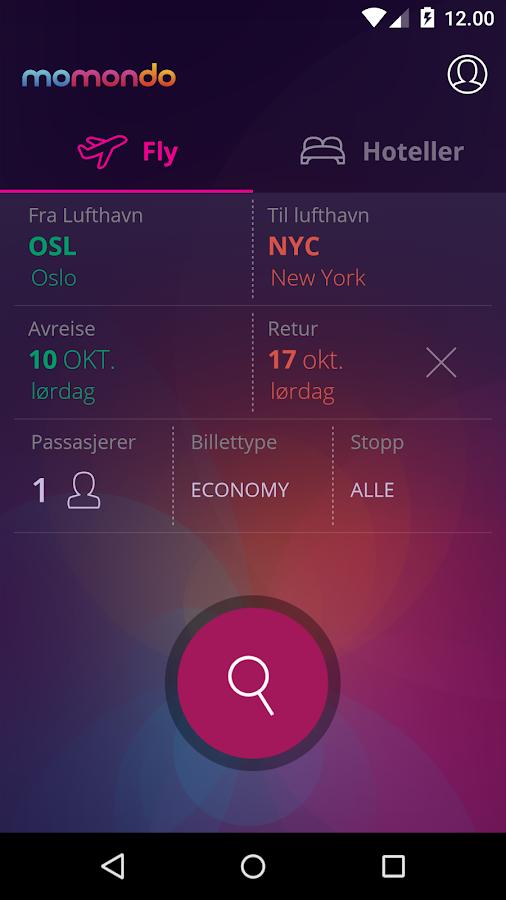momondo - Billig Fly og Hotell-skjermdump