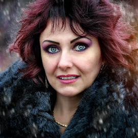 Curiosity by Alexandru Tache - People Portraits of Women ( wood, curiosity, white, cute, portrait, photography, love, sexy, winter, color, woman, night, nikon, natural, light )