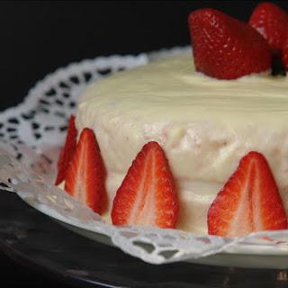 Strawberry Cake with White Chocolate Icing and Yogurt.
