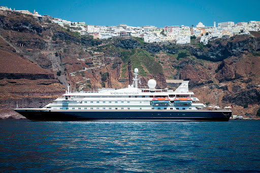 Seadream-Santorini.jpg - Santorini is the backdrop for a rejuvenating day on a SeaDream cruise.