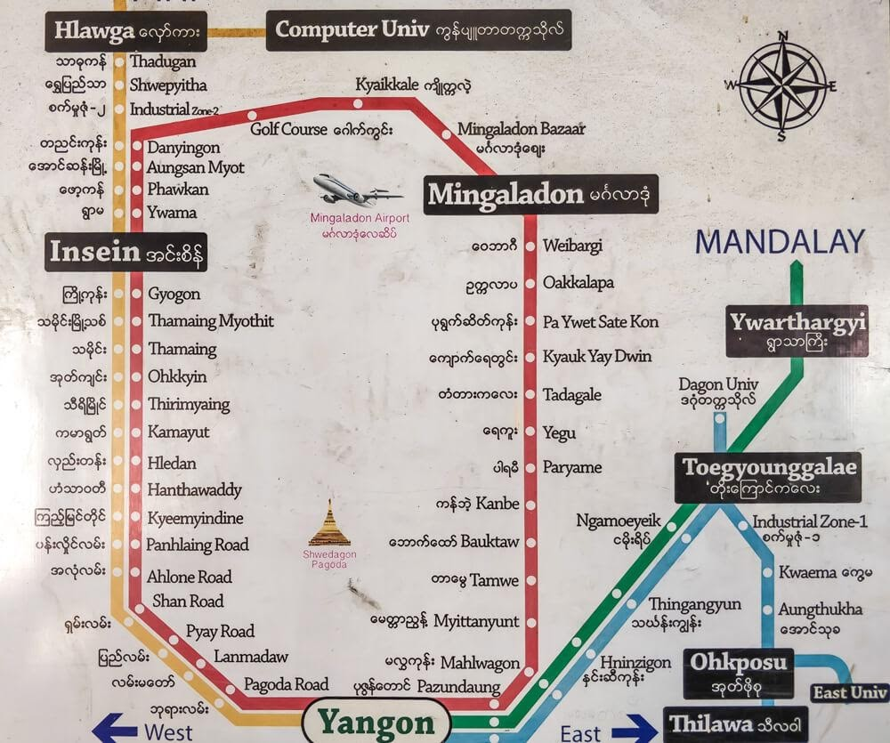 rangoon yangon circular train map burma