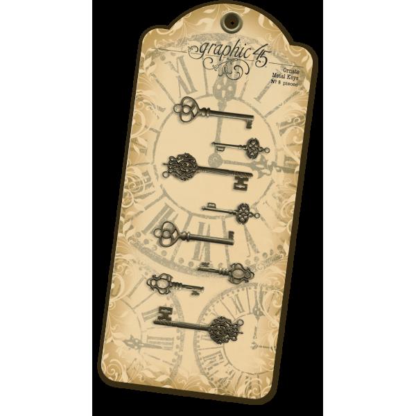 Antique Brass Ornate Metal Keys