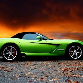 Stryker Green by JEFFREY LORBER - Transportation Automobiles ( green car, lorberphoto, rust 'n chrome, lime green, stryker, viper, jeffrey lorber,  )