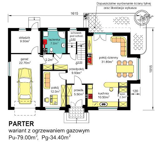 BW-27 z garażem jednostanowiskowym - Rzut parteru - propozycja adaptacji - ogrzewanie gazowe