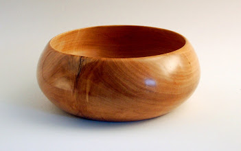 "Photo: Gene Adcock -- Crotch Cherry Bowl with Traditional English Profile -- 3"" X 8"" -- $150"