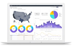 Graphic of computer monitor with charts and graphs and map of USA