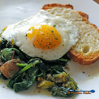 Leeks and Mushrooms With Cheesy Toasts and Fried Eggs