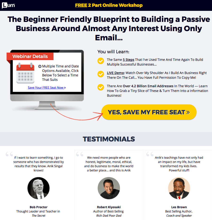 Great landing pages Lurn