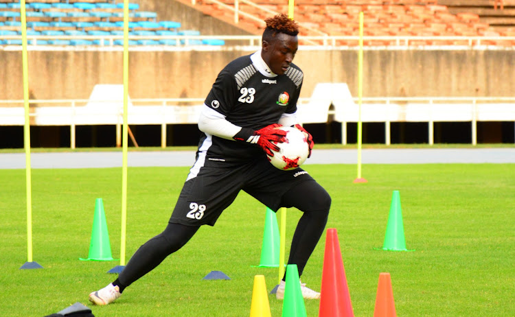 Harambee Stars Zambia-based goalkeeper Ian Otieno during a training session at Moi Stadium, Kasarani on Monday.