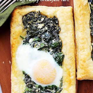 Spinach and Feta Puff Pastry Breakfast Tart.