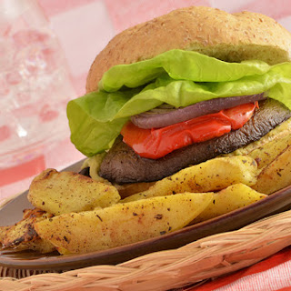 Portobello Burger with Savory Balsamic Marinade.