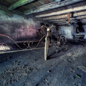 sleep or ride by Steve Struttmann - Buildings & Architecture Homes ( urbex, bike, lost, wood, bed, dust, rusty, house, attic, spictures, decay, luxembourg,  )