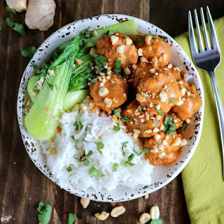 Red Curry Chicken Meatball Bowl.