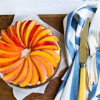 Peaches with Ginger, Pecan, and Brown Sugar Cake