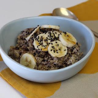 Coconut Quinoa Porridge with Banana & Black Sesame Seeds