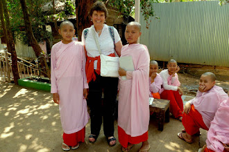Photo: I arrived in Myanmar a day late because my flight was canceled.  The first stop in Yangon, Myanmar was at Kalaywa Tawya monastery where I met some of the female novices.