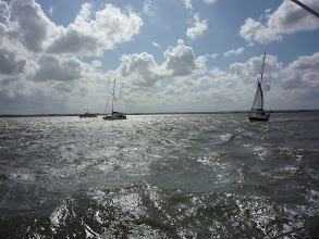Photo: Stormy weather on the EAST cruise for Visually Impaired sailors. (East Anglian Sailing Trust)