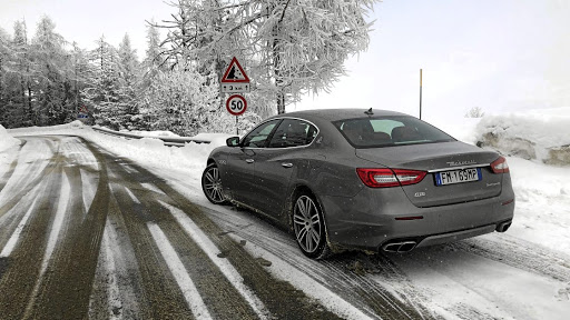 The rear-wheel drive Quattroporte GTS might not seem ideal for these conditions, but it coped well. Picture: MARK SMYTH