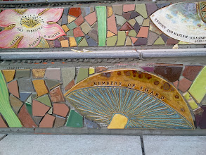 Photo: End of thirteenth full day of work (Sunday, November 13, 2013): Detail of individual tiles near the bottom of the Hidden Garden Steps (16th Avenue, between Kirkham and Lawton streets in San Francisco's Inner Sunset District), where the 148-step ceramic-tile mosaic designed and created by project artists Aileen Barr and Colette Crutcher has been completely installed. KZ Tile workers remained on site all day to finish grouting the mosaic and the surfaces upon which visitors will walk. For more information about this volunteer-driven community-based project supported by the San Francisco Parks Alliance, the San Francisco Department of Public Works Street Parks Program, and hundreds of individual donors, please visit our website at http://hiddengardensteps.org.