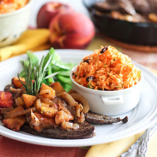 Beef Liver with Caramelized Peaches and Onion Compote.