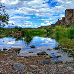 Tranquility by Deb Bulger - Instagram & Mobile Android ( clouds, tranquil, mountains, peaceful, waterscape, colorful, serene, reflections, salt river, landscape, river, rocky shores,  )
