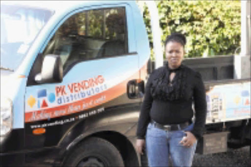RIPPED OFF: Palesa Majela refused to budge from PK Vending Distributors until she got her R120000 back but left empty-handed. Pic: Elvis Ntombela. 09/07/2009. © Sowetan. 20090809  Palesa Blessing Mokoena from Tshwane is a victim of ba dbussiness practice from PK Vending based in Kelvin,  Johannesburg Palesa is waiting for her three vending machines that she paid in full in December 2008 till today she have not received her machines, photo taken in PK vending's yard on the 9th July 2009.  PHOTO:ELVIS NTOMBELA