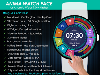 Anima Watch Face Pro - Wear 1.0 + Higher- screenshot thumbnail