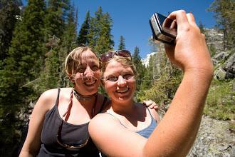 Photo: Two young women posing for self portrait while hiking near Jackson Lake. Grand Teton NP, WY