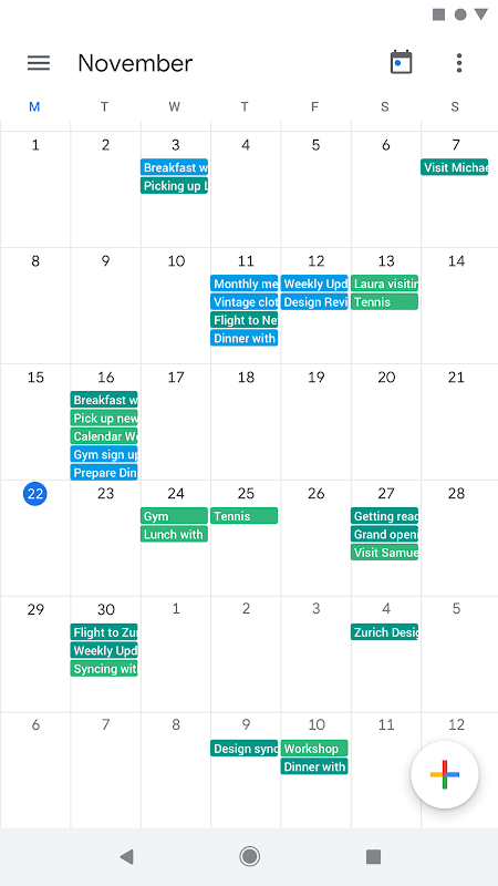 Google Calendar screenshots