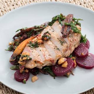 Center-Cut Pork Chops with Beet, Carrot & Hazelnut Salad.