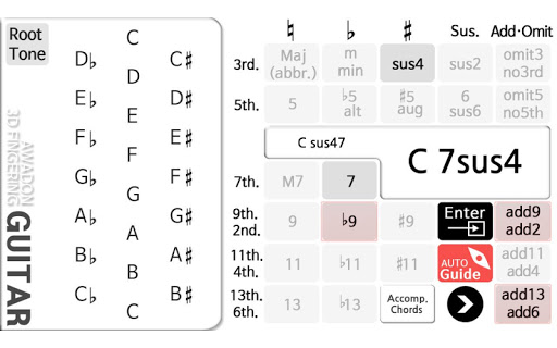 Guitar Chord 3D Pro Apps voor Android screenshot