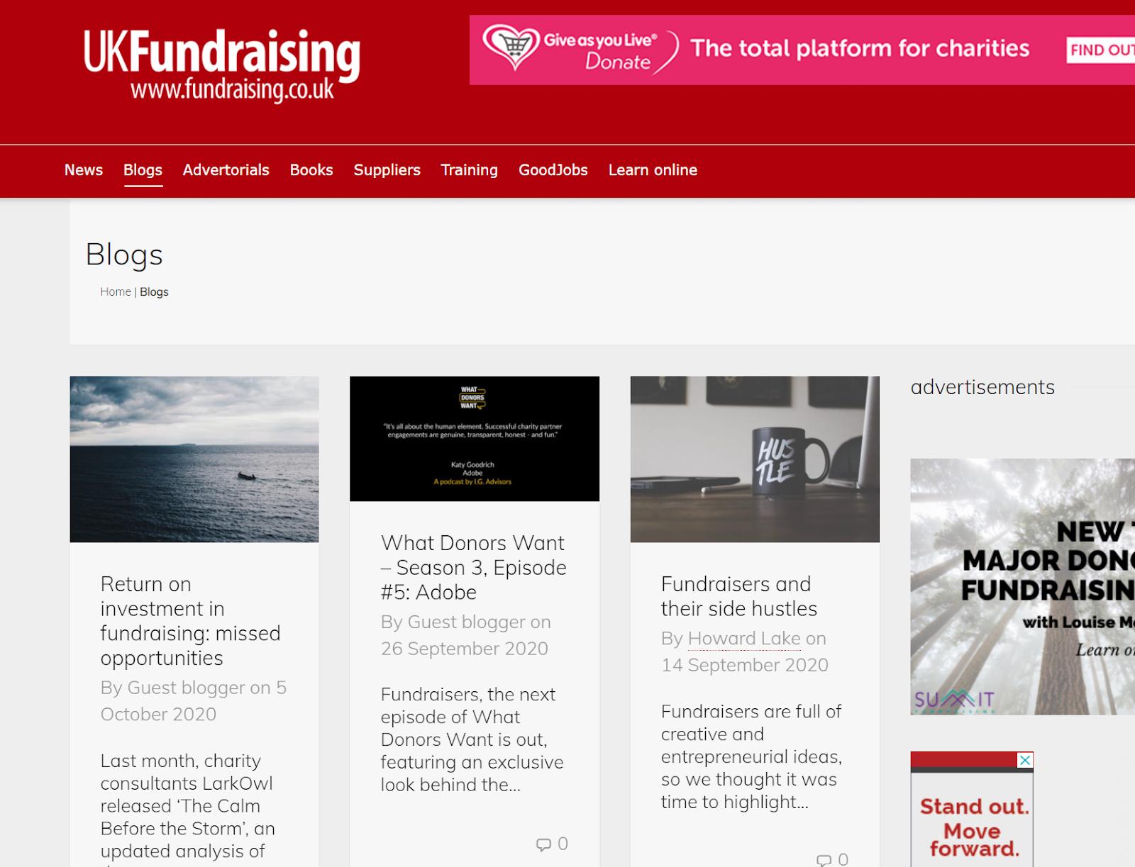Screenshot of UK Fundraising charity blog homepage.