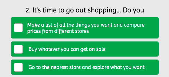 it's time to go out shopping what do you do quiz question
