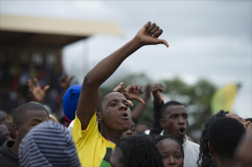 Malamulele residents during an ANC election rally at Malamulele Stadium on April 16, 2014 in Malamulele, South Africa. President Jacob Zuma was booed while addressing the community about their call for their own municipality, separate from Thulamela municipality.