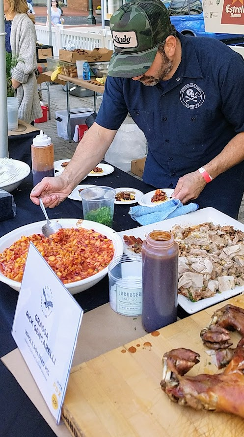 Chef Rick Gencarelli of Grassa and Lardo PDX presented Whole Roasted Pig with sherried corn and pickled peaches for La Ruta PDX 2017