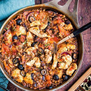 One-Pot Spanish Chicken, Chorizo and Lentil Stew Recipe