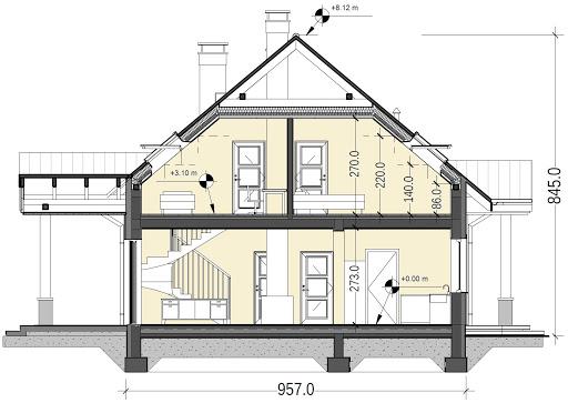 Sowa 13 z garażem - Przekrój