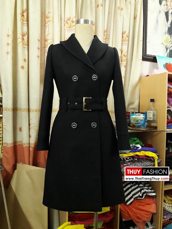 Áo măng tô dạ nữ tông màu đen V372 tại Thời Trang Thủy