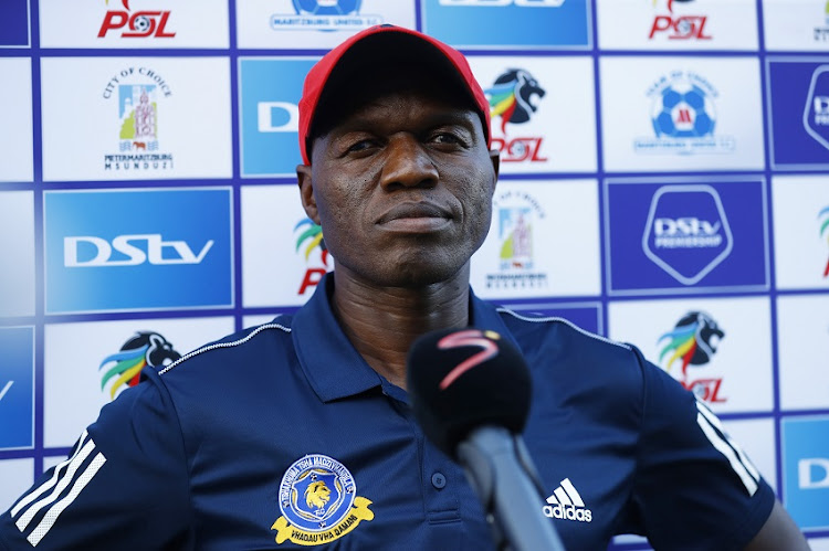 Mpho Maleka (Coach) of Tshakhuma FC during the DStv Premiership: Maritzburg United and Tshakhuma FC at Harry Gwalla Stadium on February 12, 2021 in Pietermaritzburg, South Africa.