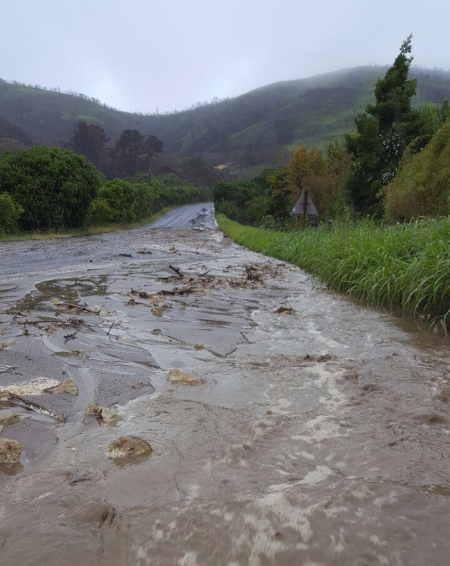 A flooded road in Knysna on 14 November 2017.